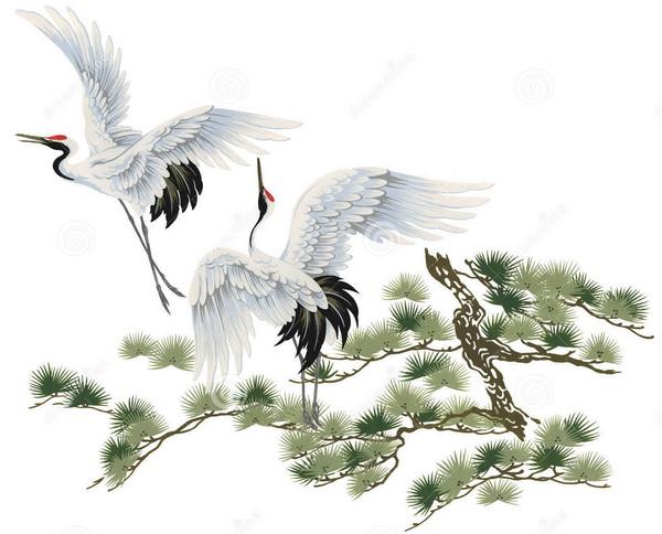 ภาพวาดนกกระเรียน กางปีก