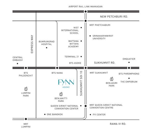 แผนที่โครงการ ฟินน์ อโศก (Fynn Asoke)