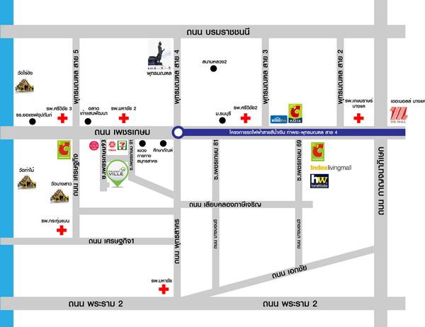 แผนที่โครงการ พฤกษาวิลล์ 99 เพชรเกษม 91-93