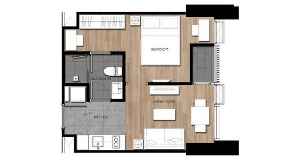 วิชซิกเนเจอร์ 2 มิดทาวน์สยาม แบบ 1 ห้องนอน