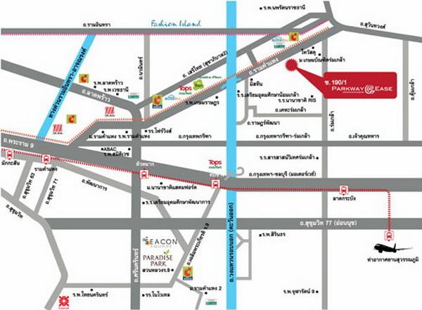 แผนที่โครงการพาร์คเวย์เอลีฟ (Parkway A-Liv)