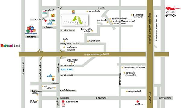 แผนที่โครงการ พาร์คเวย์ เอลีฟ (Parkway @Ease)