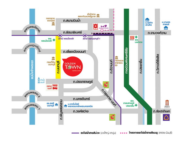 แผนที่โกลเด้นทาวน์ วงศ์สว่าง - แคราย