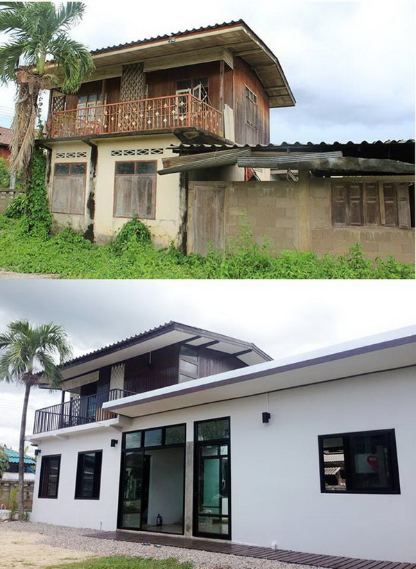 บ้านสองชั้นครึ่งปูนครึ่งไม้